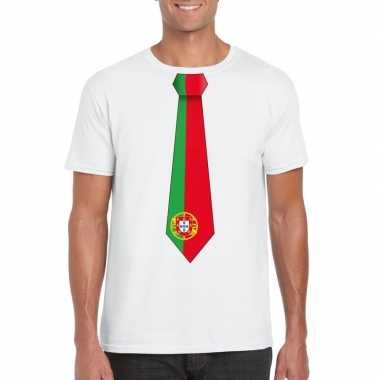 Shirt met portugal stropdas wit heren