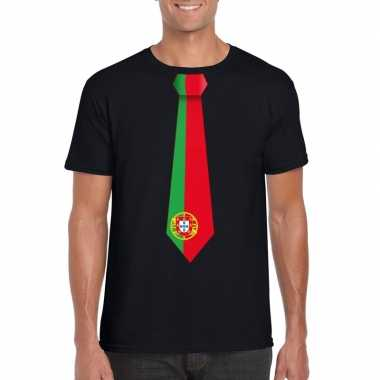 Shirt met portugal stropdas zwart heren