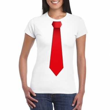 Shirt met rode stropdas wit dames