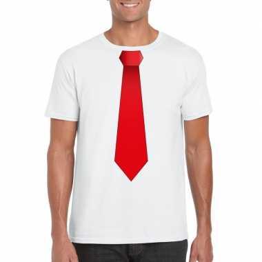 Shirt met rode stropdas wit heren