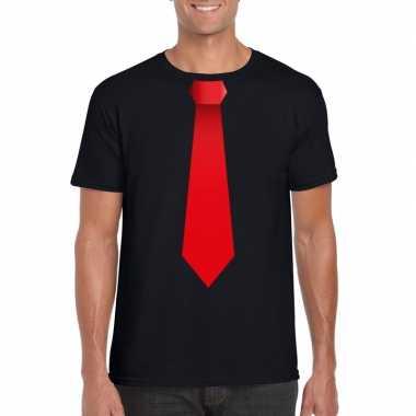 Shirt met rode stropdas zwart heren