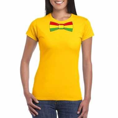 Shirt met rood/geel/groene limburg strik geel dames