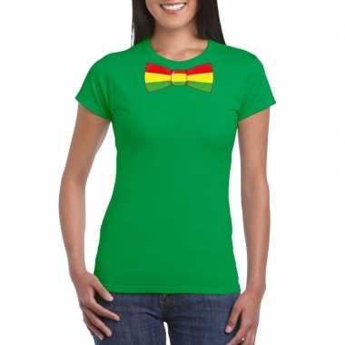 Shirt met rood/geel/groene limburg strik groen dames