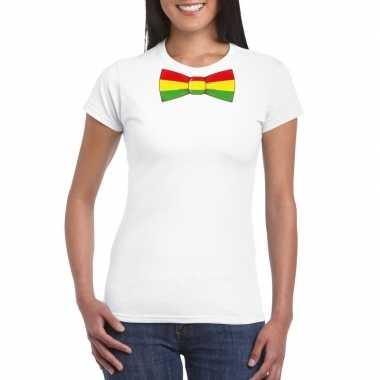 Shirt met rood/geel/groene limburg strik wit dames
