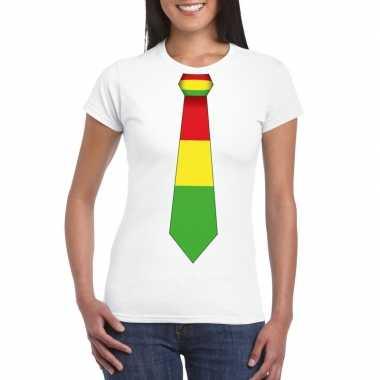Shirt met rood/geel/groene limburg stropdas wit dames