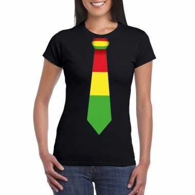 Shirt met rood/geel/groene limburg stropdas zwart dames
