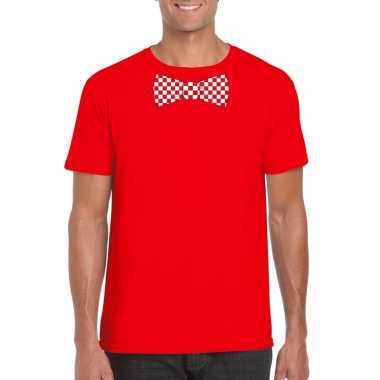 Shirt met rood/witte brabant strik rood heren