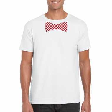 Shirt met rood/witte brabant strik wit heren
