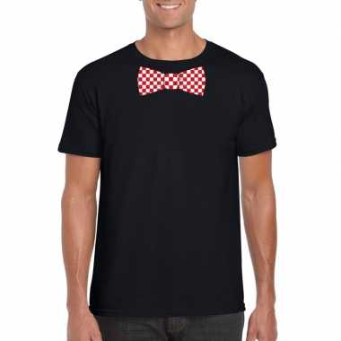 Shirt met rood/witte brabant strik zwart heren