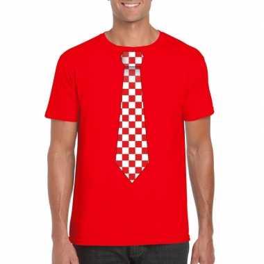 Shirt met rood/witte brabant stropdas rood heren