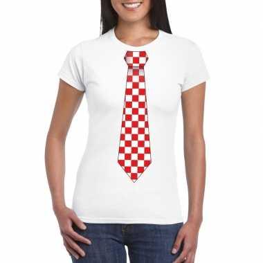 Shirt met rood/witte brabant stropdas wit dames