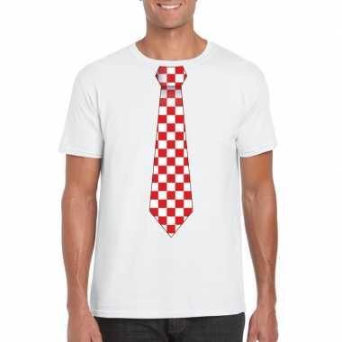 Shirt met rood/witte brabant stropdas wit heren