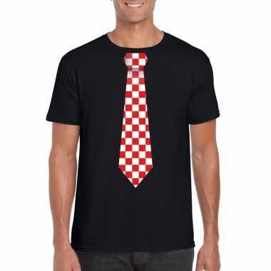 Shirt met rood/witte brabant stropdas zwart heren