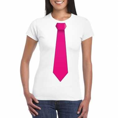 Shirt met roze stropdas wit dames