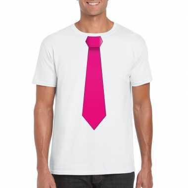 Shirt met roze stropdas wit heren