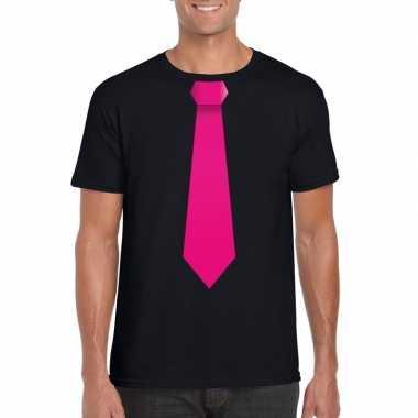 Shirt met roze stropdas zwart heren