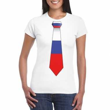 Shirt met rusland stropdas wit dames
