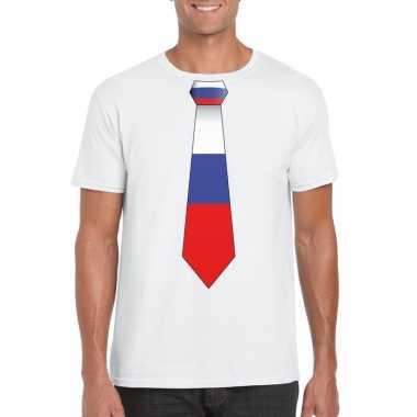 Shirt met rusland stropdas wit heren