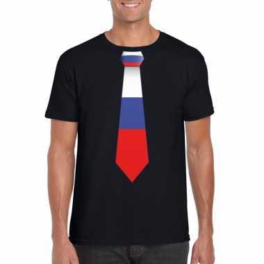 Shirt met rusland stropdas zwart heren