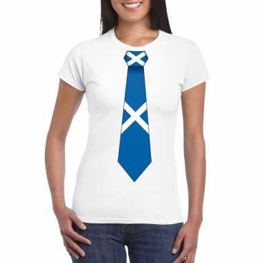 Shirt met schotland stropdas wit dames