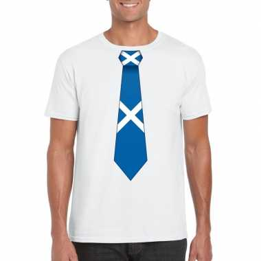 Shirt met schotland stropdas wit heren