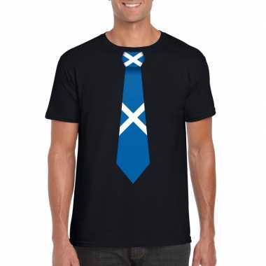 Shirt met schotland stropdas zwart heren
