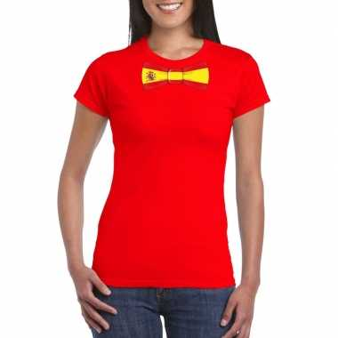 Shirt met spanje strikje rood dames
