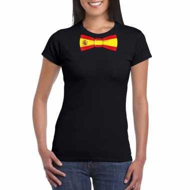 Shirt met spanje strikje zwart dames