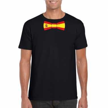 Shirt met spanje strikje zwart heren