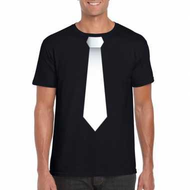 Shirt met witte stropdas zwart heren