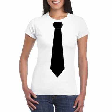 Shirt met zwarte stropdas wit dames