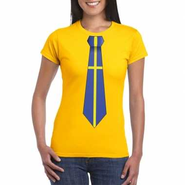 Shirt met zweden stropdas geel dames