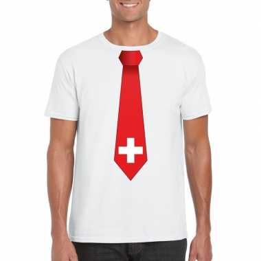 Shirt met zwitserland stropdas wit heren