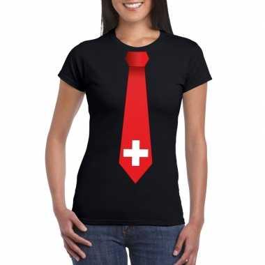 Shirt met zwitserland stropdas zwart dames