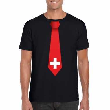 Shirt met zwitserland stropdas zwart heren