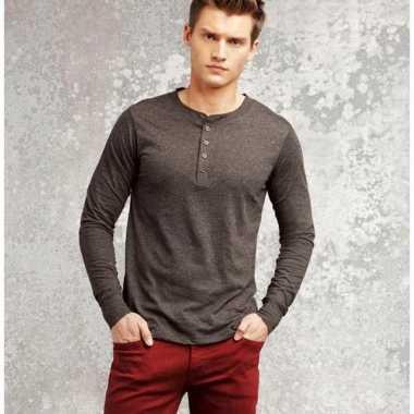 Shirt voor heren met lange mouw grijs