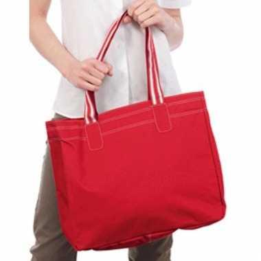 Shopper rood/wit 41 cm