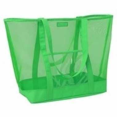 Shopper strandtas klittenbandsluiting groen 38 cm