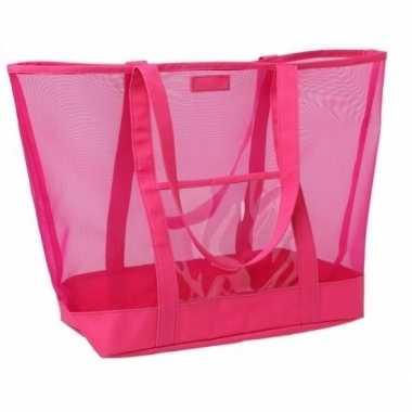 Shopper strandtas klittenbandsluiting roze 38 cm