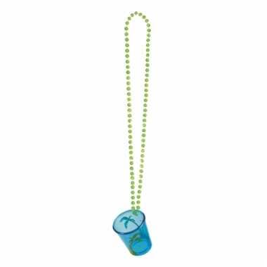 Shotglas blauw aan een ketting palmboom
