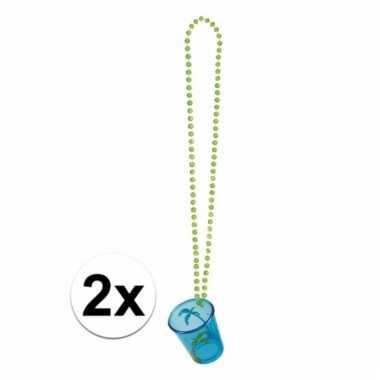 Shotglazen blauw aan een ketting 2x