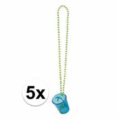 Shotglazen blauw aan een ketting 5x