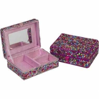 Sieradenkistje/sieradenbox roze met glitters 8 x 11 cm