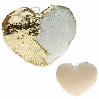 Sierkussen hartje goud/creme metallic met draaibare pailletten 30 cm