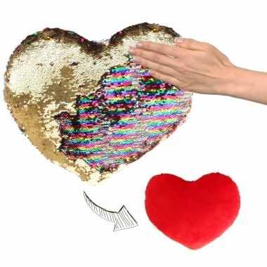 Sierkussen hartje goud/rood metallic met draaibare pailletten 50 cm