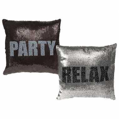 Sierkussen met pailletten party/relax 40 x 40 cm