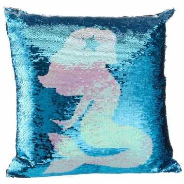 Sierkussentje blauwe pailletten met zeemeerminnen silhouet 40 x 40 cm