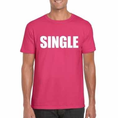 Single fun t-shirt roze voor heren