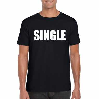 Single fun t-shirt zwart voor heren