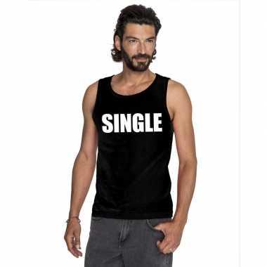 Single mouwloos shirt zwart voor heren